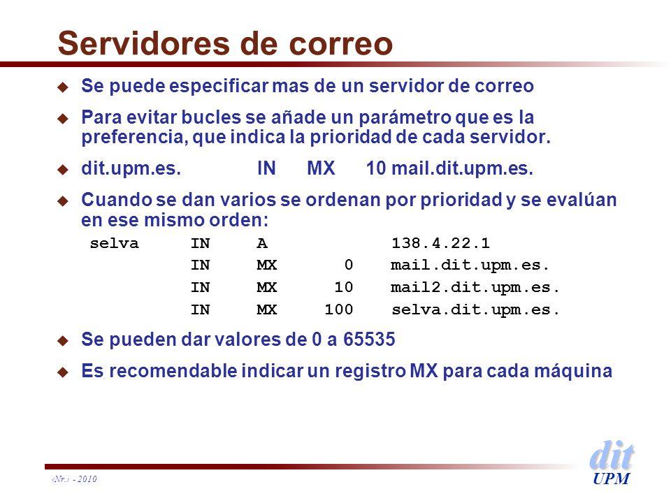 Servidores de correo Se puede especificar mas de un servidor de correo