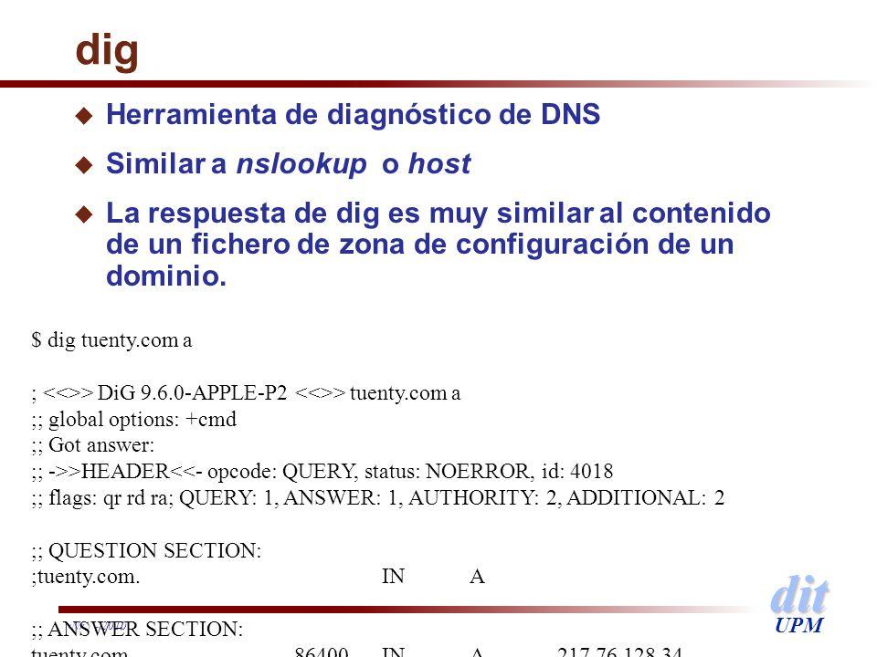 dig Herramienta de diagnóstico de DNS Similar a nslookup o host