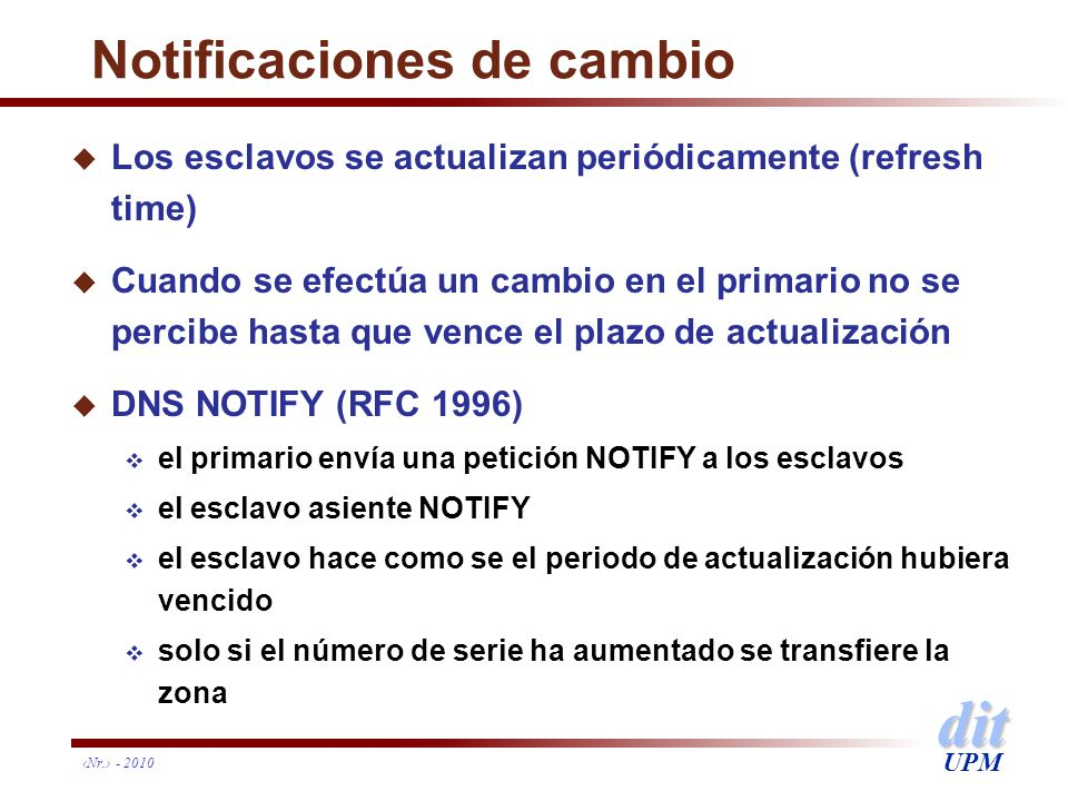 Notificaciones de cambio
