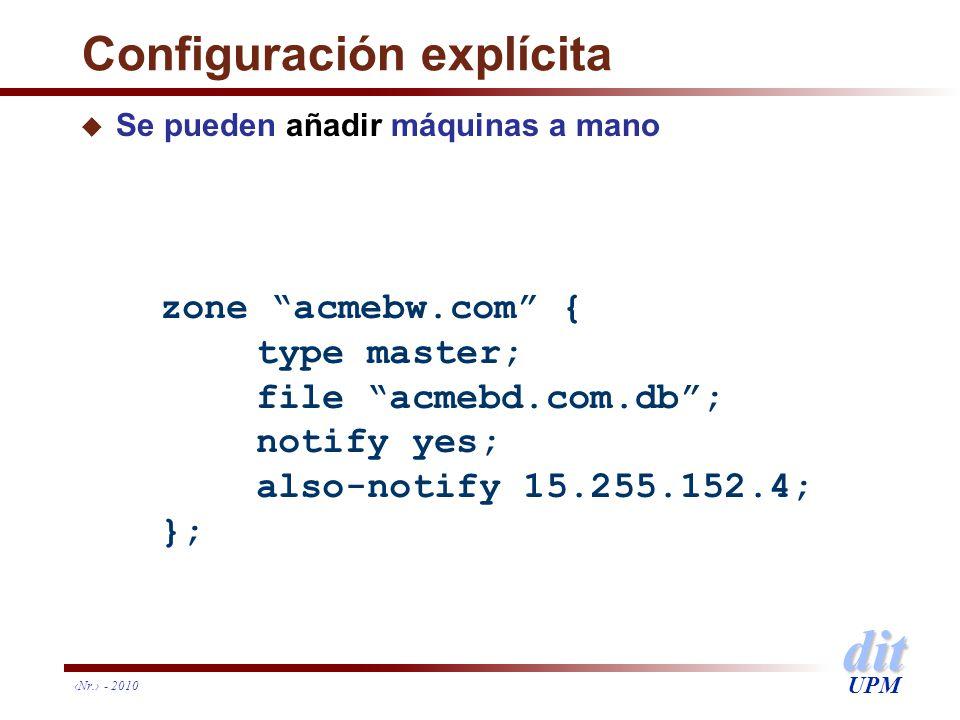 Configuración explícita