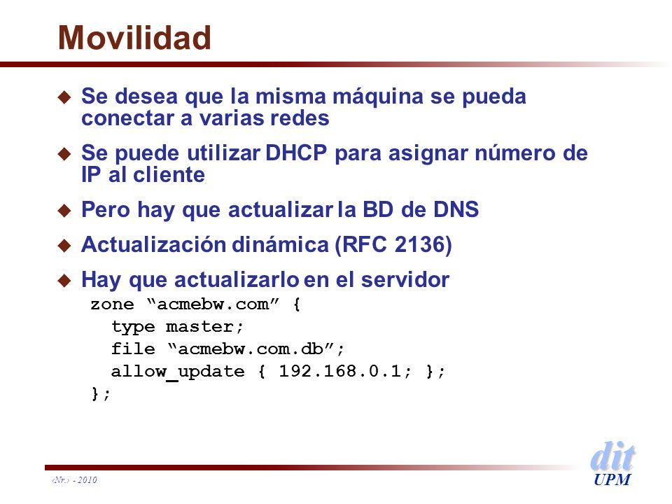 Movilidad Se desea que la misma máquina se pueda conectar a varias redes. Se puede utilizar DHCP para asignar número de IP al cliente.