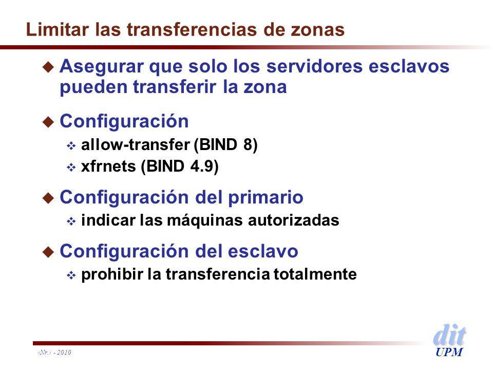 Limitar las transferencias de zonas