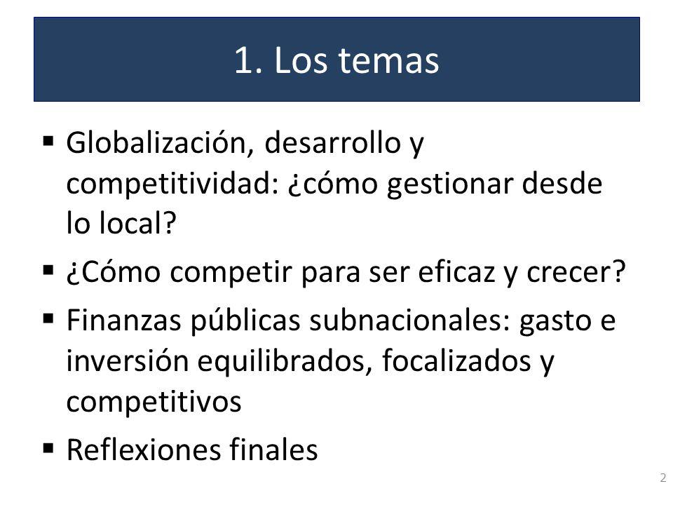 1. Los temas Globalización, desarrollo y competitividad: ¿cómo gestionar desde lo local ¿Cómo competir para ser eficaz y crecer