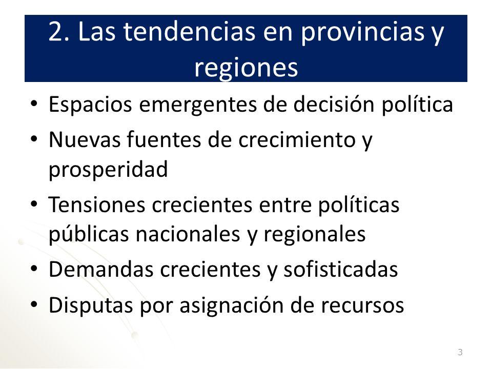 2. Las tendencias en provincias y regiones