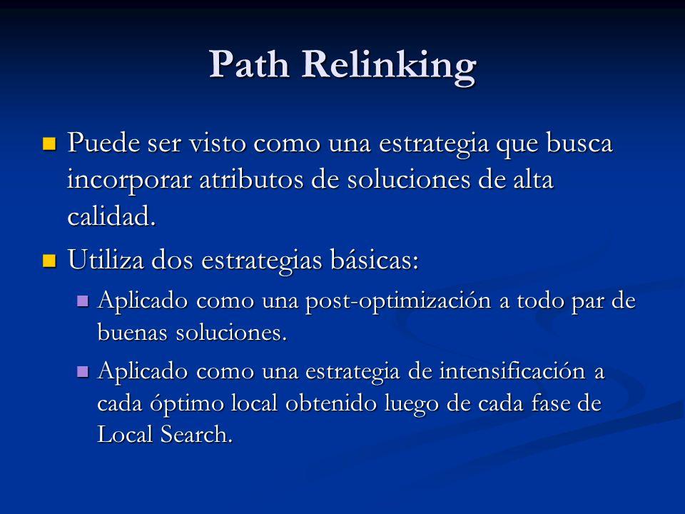 Path Relinking Puede ser visto como una estrategia que busca incorporar atributos de soluciones de alta calidad.