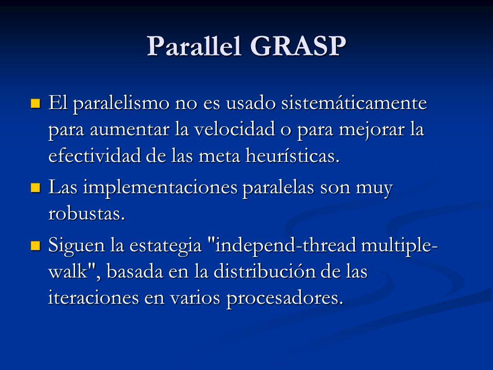 Parallel GRASP El paralelismo no es usado sistemáticamente para aumentar la velocidad o para mejorar la efectividad de las meta heurísticas.