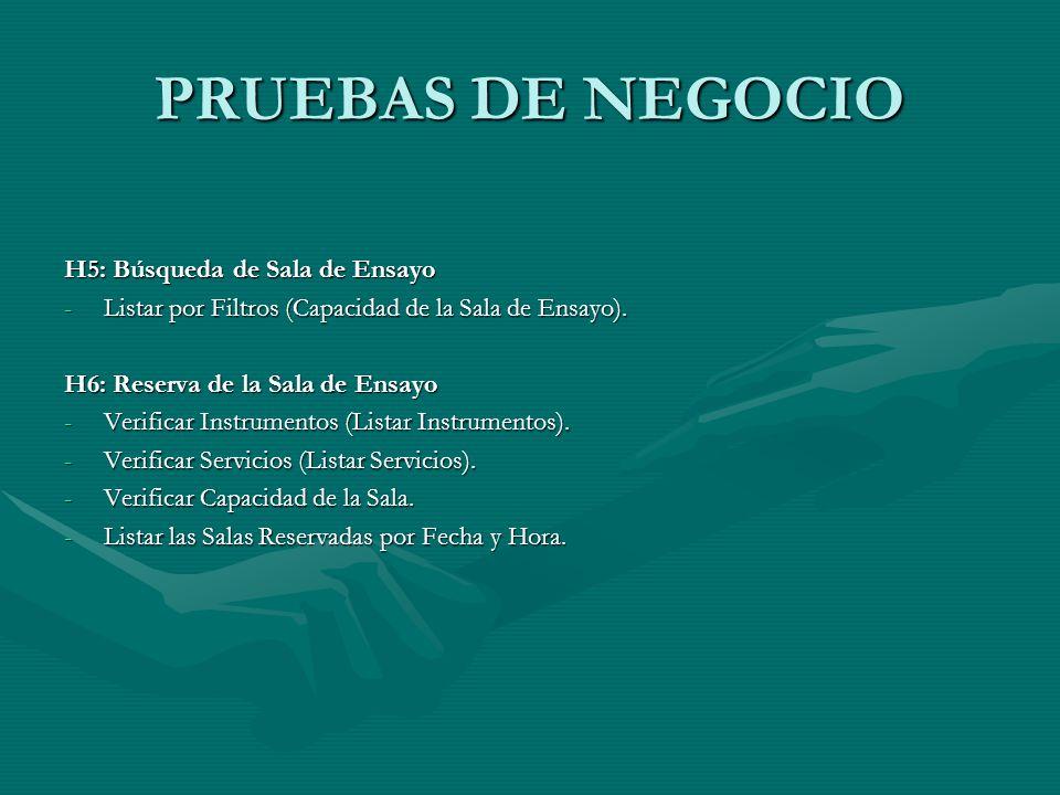 PRUEBAS DE NEGOCIO H5: Búsqueda de Sala de Ensayo