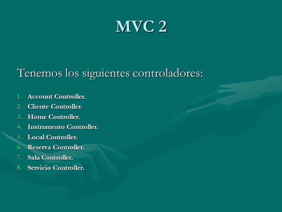 MVC 2 Tenemos los siguientes controladores: Account Controller.