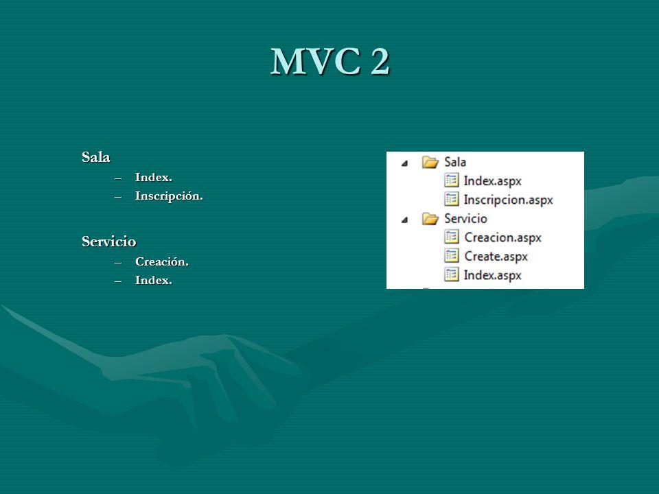 MVC 2 Sala Index. Inscripción. Servicio Creación.