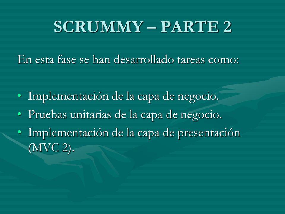 SCRUMMY – PARTE 2 En esta fase se han desarrollado tareas como: