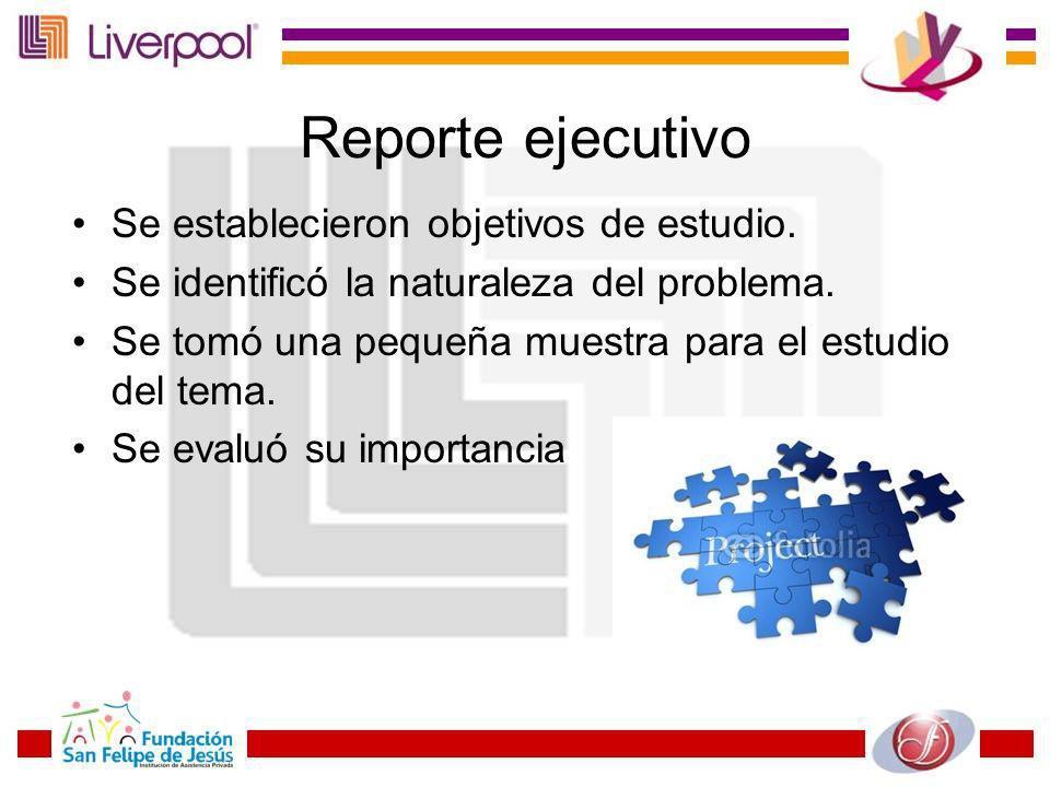 Reporte ejecutivo Se establecieron objetivos de estudio.