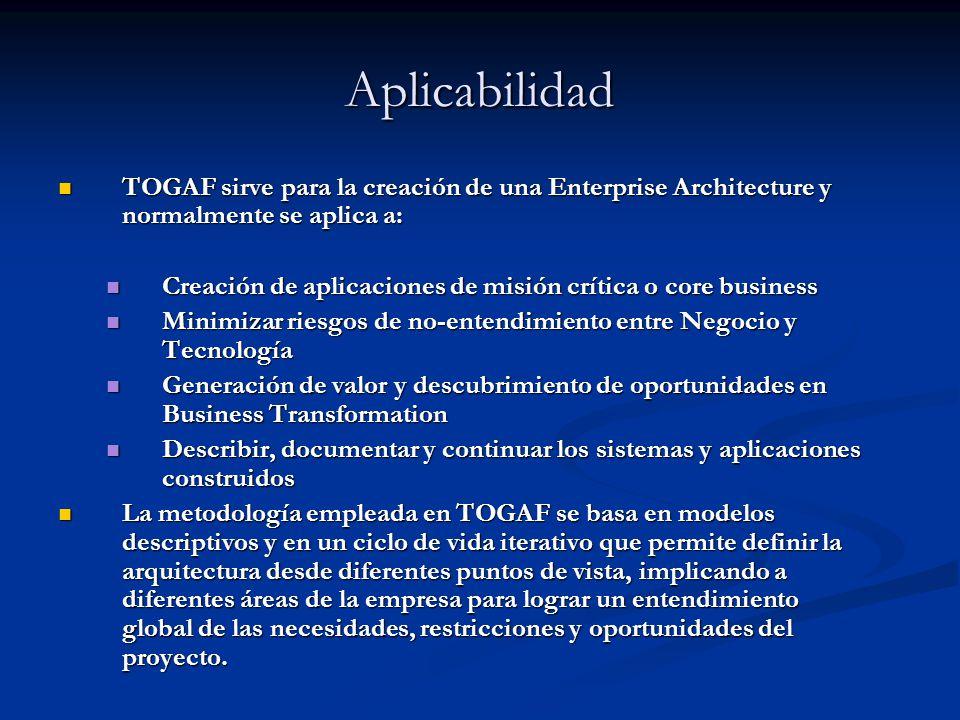 Aplicabilidad TOGAF sirve para la creación de una Enterprise Architecture y normalmente se aplica a: