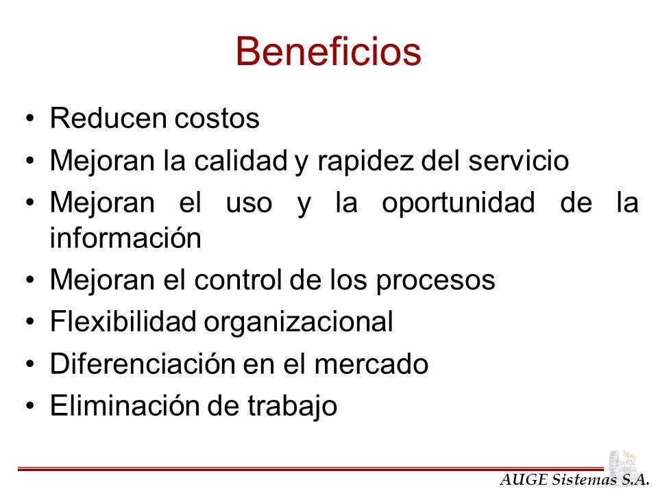 Beneficios Reducen costos Mejoran la calidad y rapidez del servicio