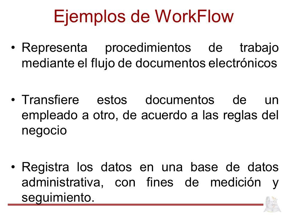 Ejemplos de WorkFlow Representa procedimientos de trabajo mediante el flujo de documentos electrónicos.