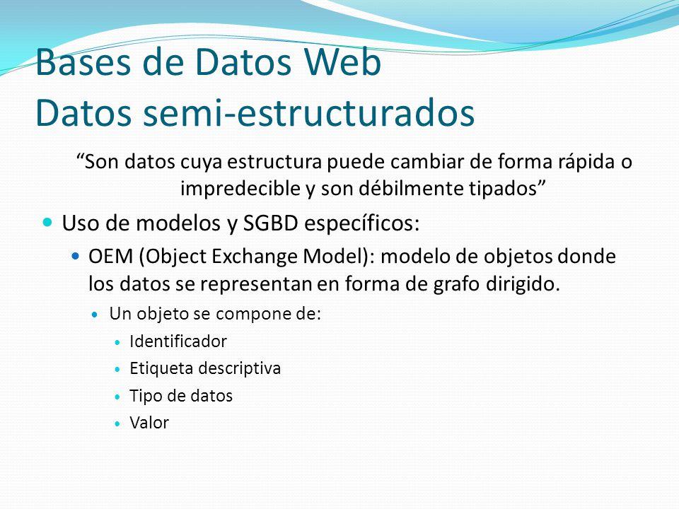 Bases de Datos Web Datos semi-estructurados