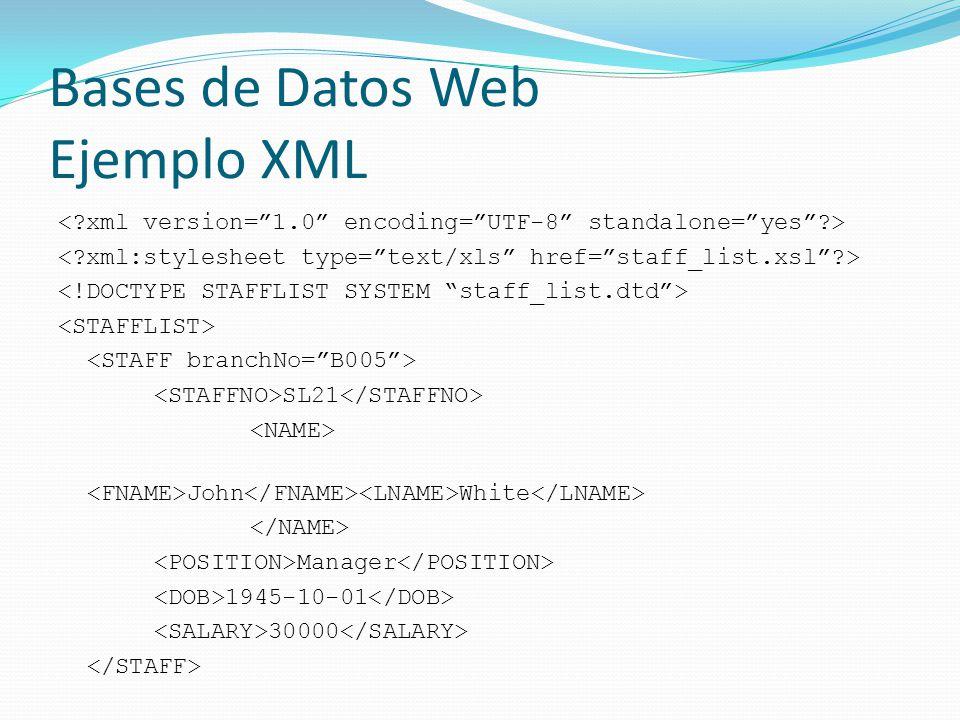 Bases de Datos Web Ejemplo XML
