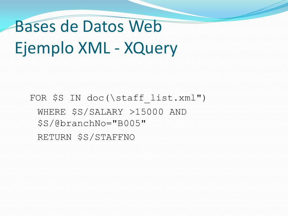 Bases de Datos Web Ejemplo XML - XQuery