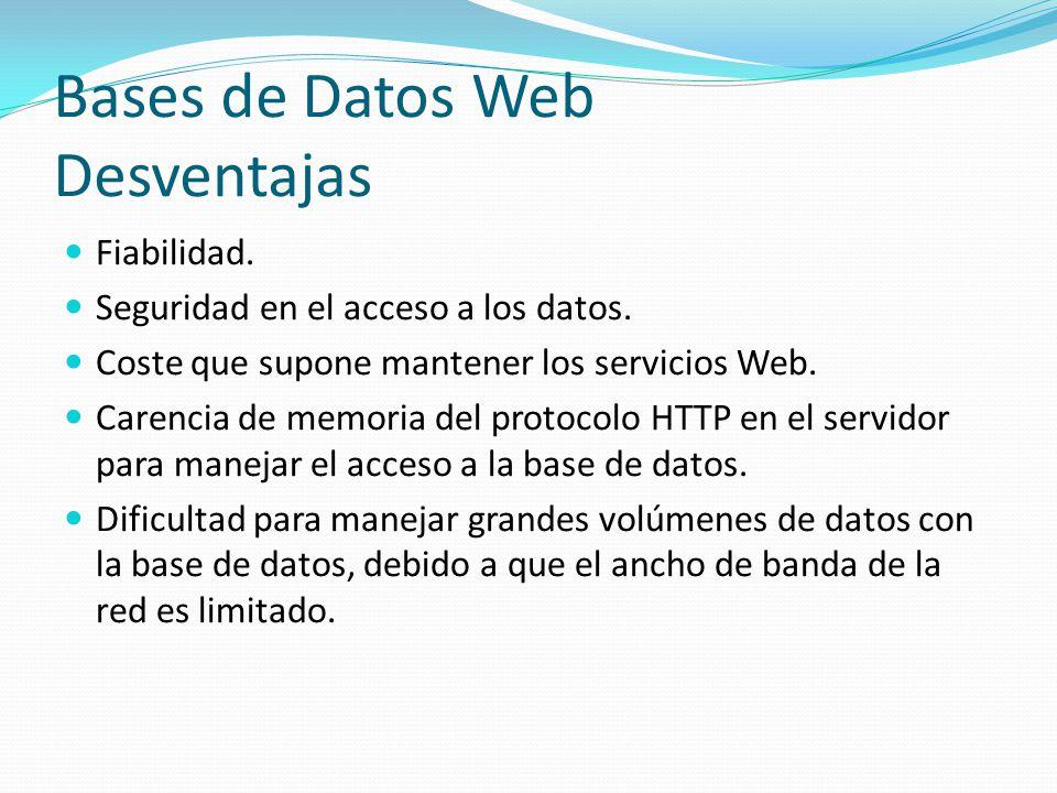 Bases de Datos Web Desventajas