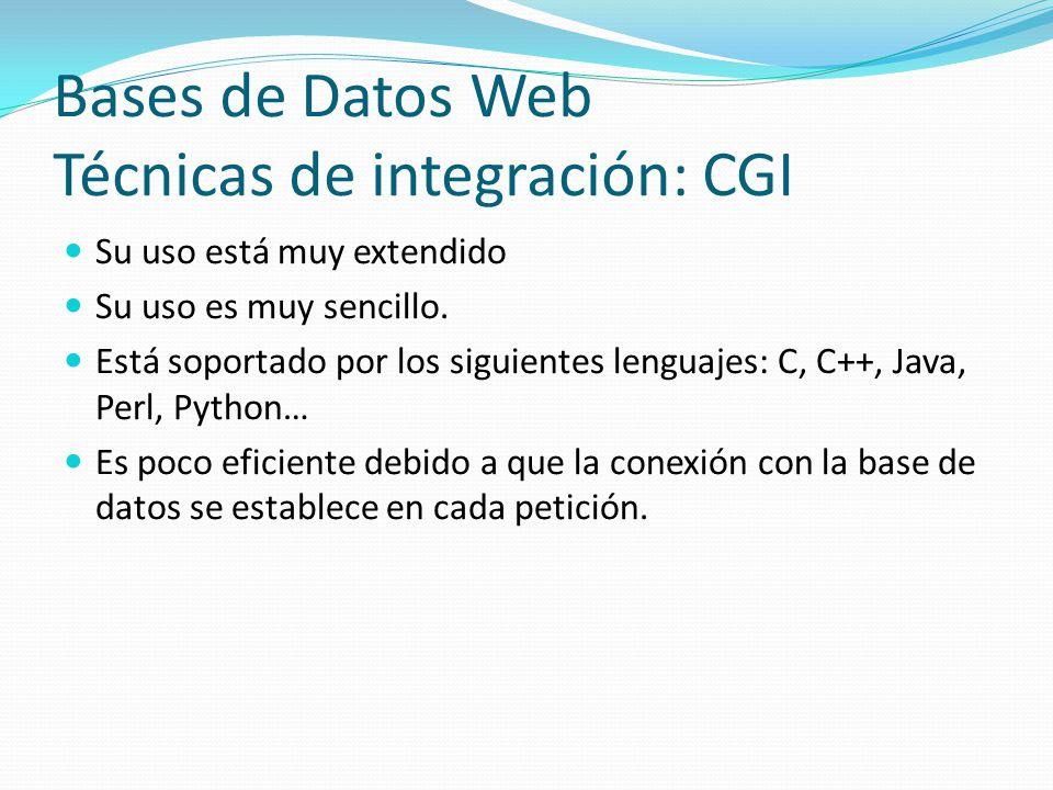 Bases de Datos Web Técnicas de integración: CGI