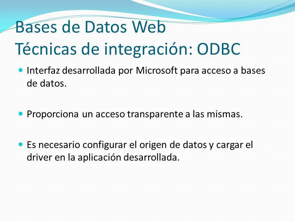 Bases de Datos Web Técnicas de integración: ODBC