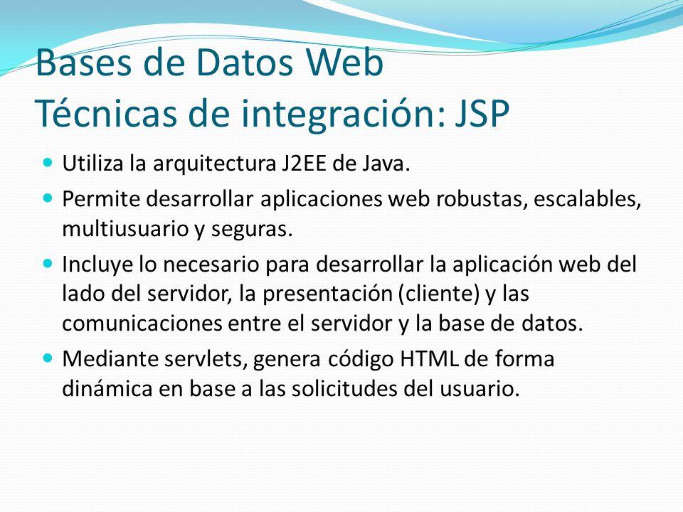 Bases de Datos Web Técnicas de integración: JSP