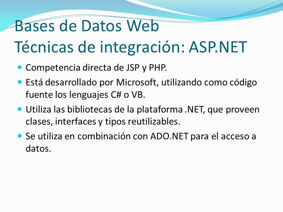 Bases de Datos Web Técnicas de integración: ASP.NET
