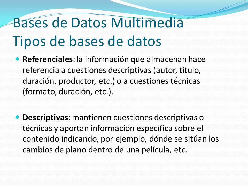 Bases de Datos Multimedia Tipos de bases de datos