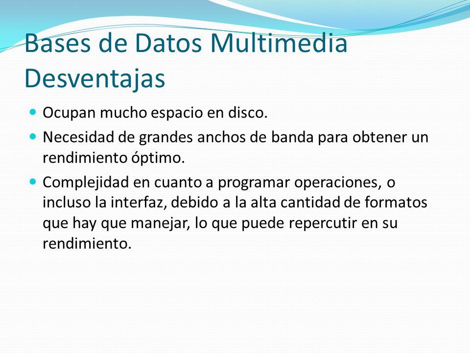 Bases de Datos Multimedia Desventajas