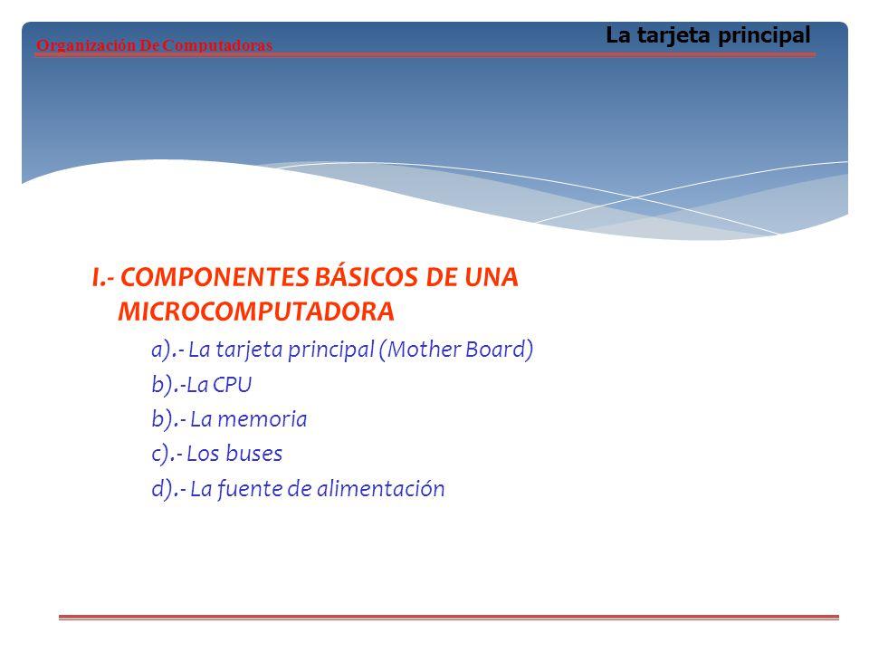 I.- COMPONENTES BÁSICOS DE UNA MICROCOMPUTADORA