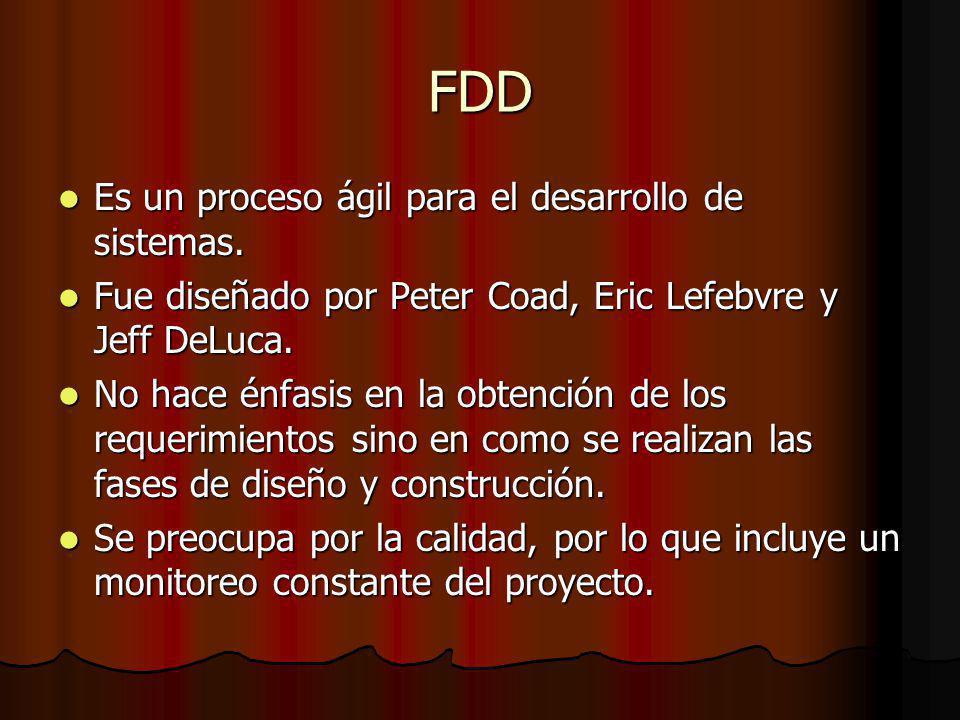 FDD Es un proceso ágil para el desarrollo de sistemas.