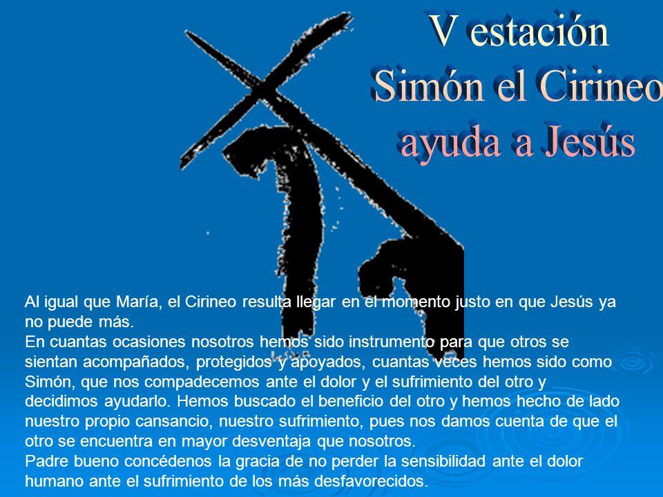 V estación Simón el Cirineo ayuda a Jesús