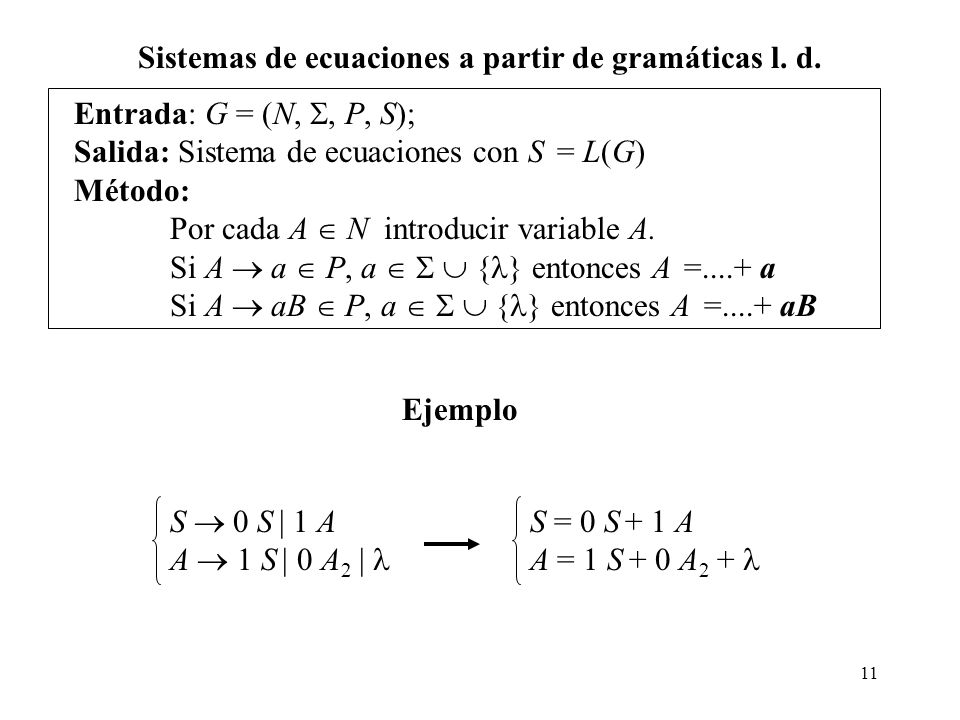 Sistemas de ecuaciones a partir de gramáticas l. d.