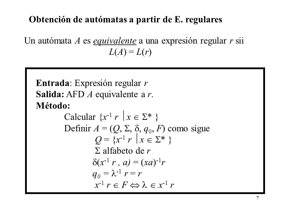 Obtención de autómatas a partir de E. regulares