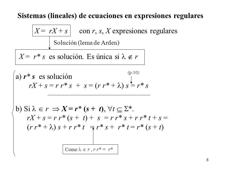 Sistemas (lineales) de ecuaciones en expresiones regulares