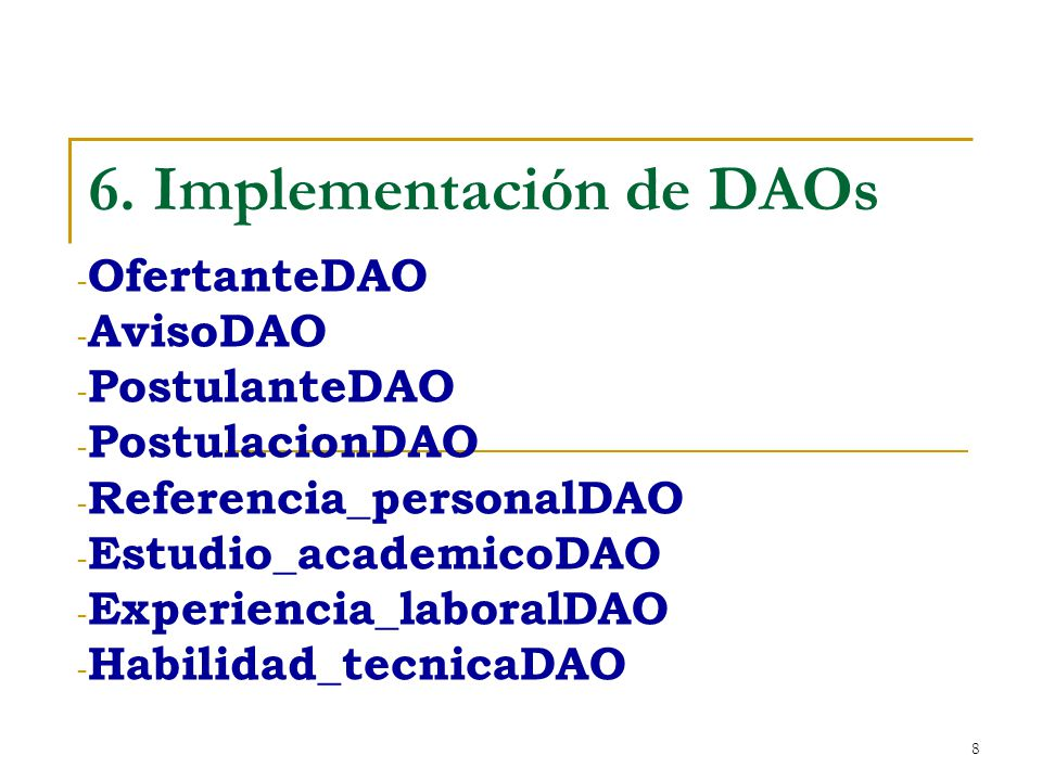 6. Implementación de DAOs