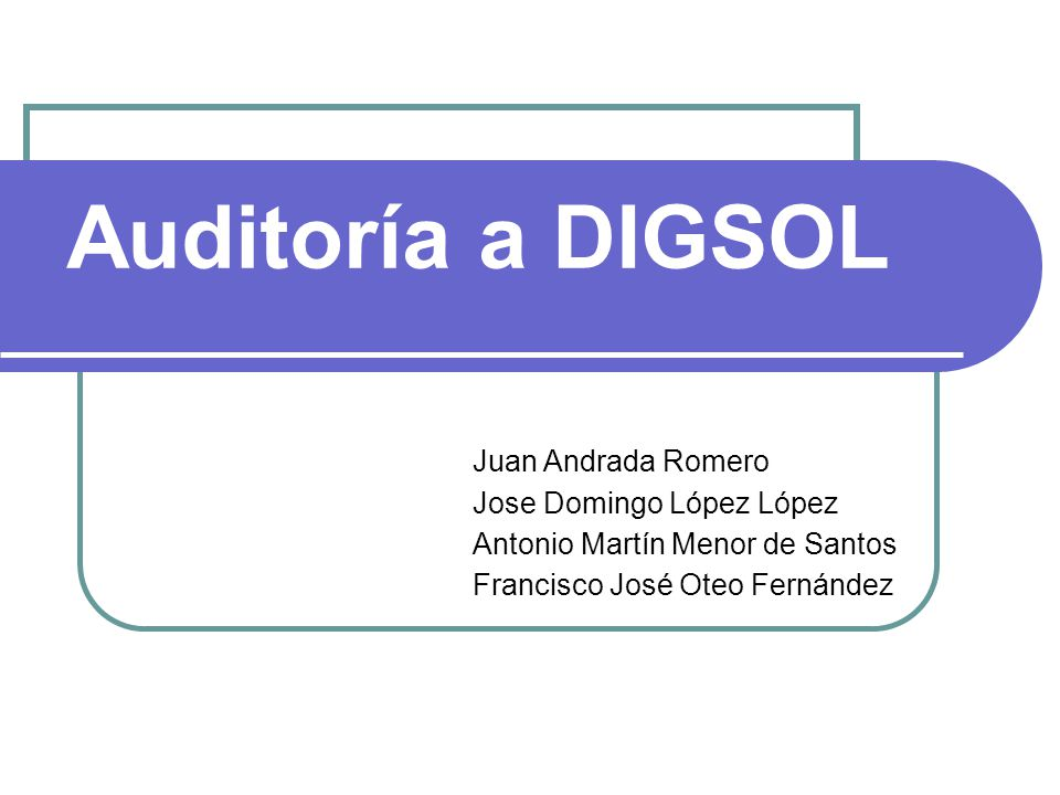 Auditoría a DIGSOL Juan Andrada Romero Jose Domingo López López
