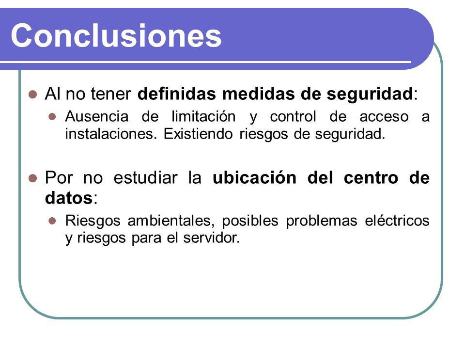 Conclusiones Al no tener definidas medidas de seguridad: