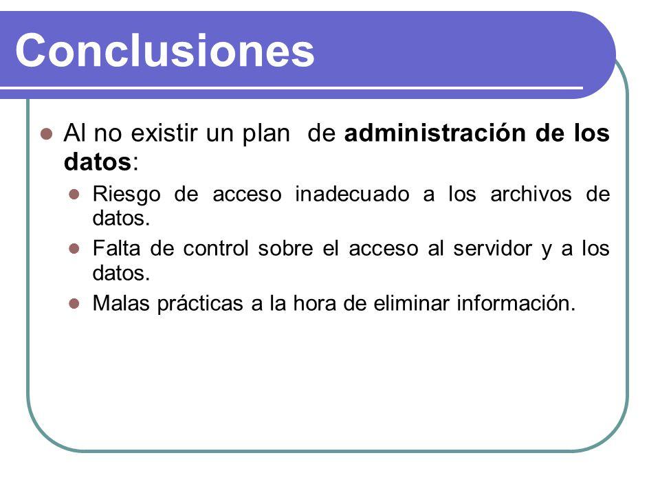 Conclusiones Al no existir un plan de administración de los datos: