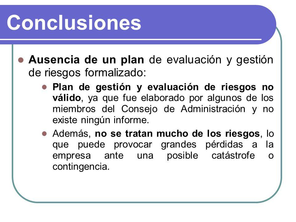 Conclusiones Ausencia de un plan de evaluación y gestión de riesgos formalizado: