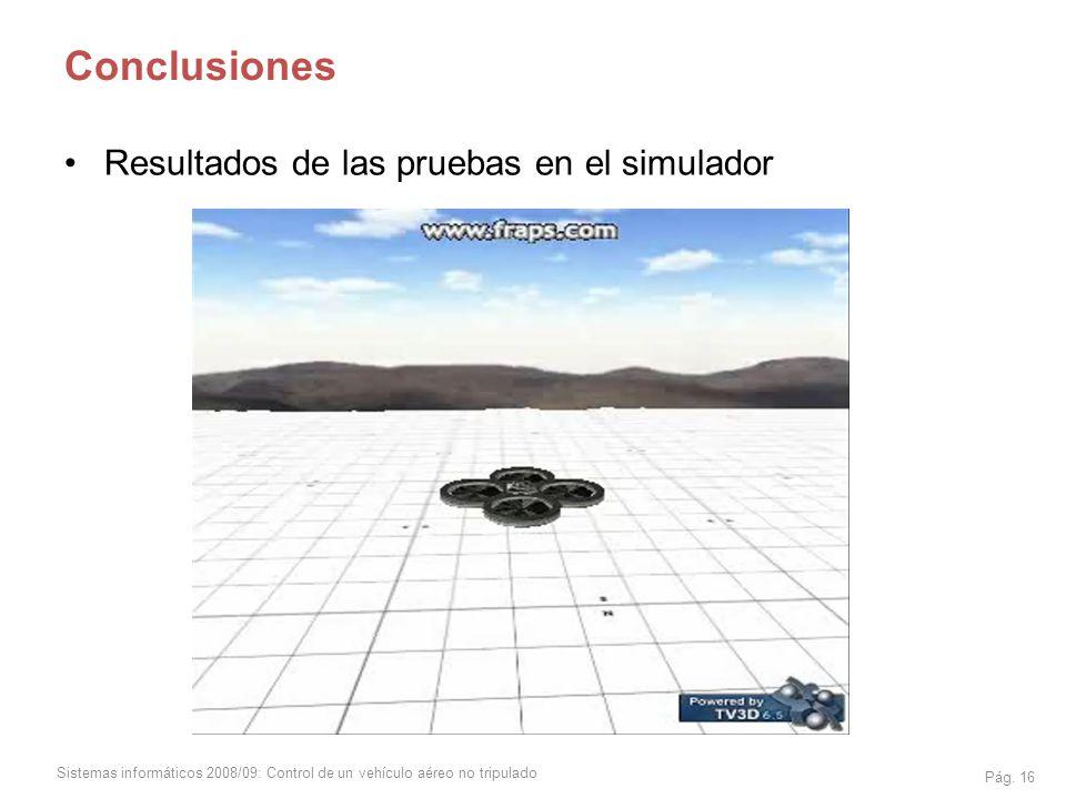 Conclusiones Resultados de las pruebas en el simulador
