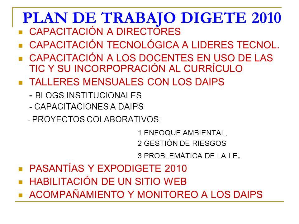 PLAN DE TRABAJO DIGETE 2010 CAPACITACIÓN A DIRECTORES