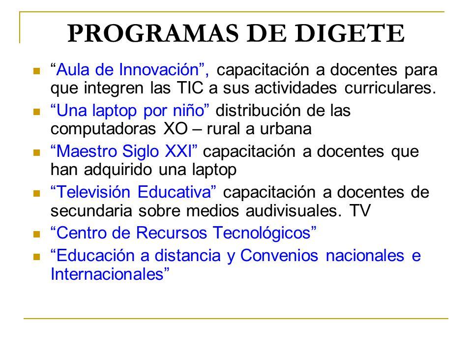 PROGRAMAS DE DIGETE Aula de Innovación , capacitación a docentes para que integren las TIC a sus actividades curriculares.