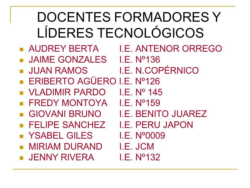DOCENTES FORMADORES Y LÍDERES TECNOLÓGICOS