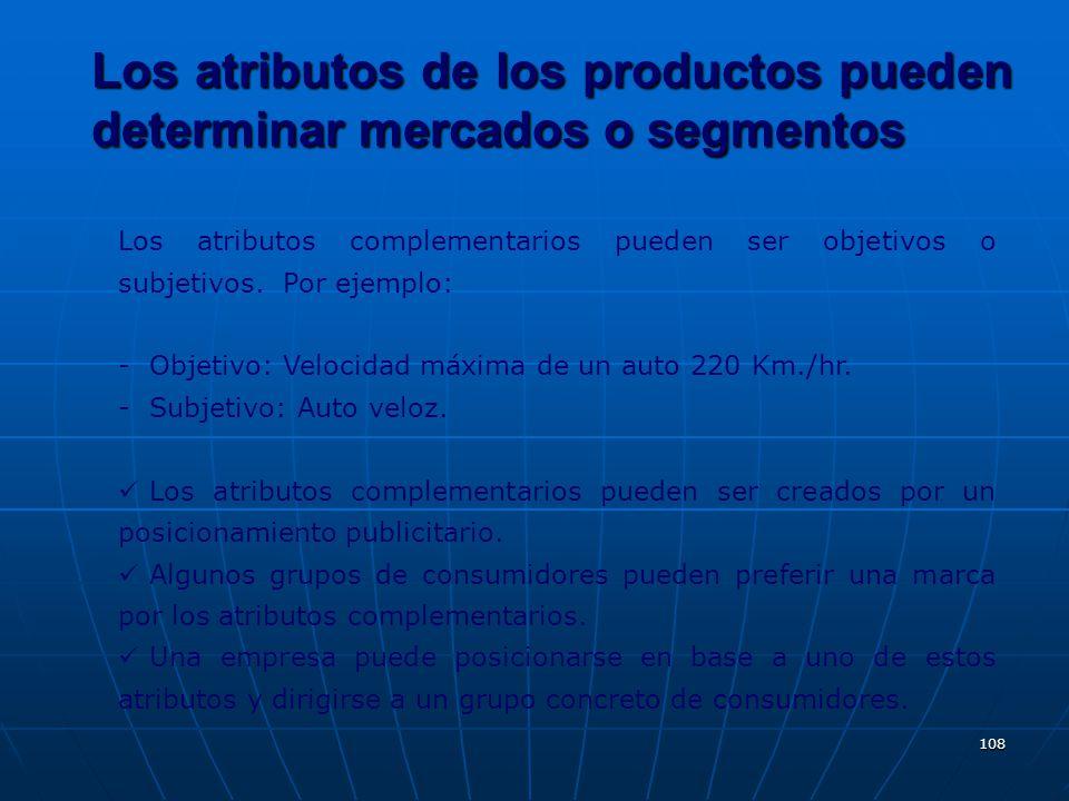 Los atributos de los productos pueden determinar mercados o segmentos