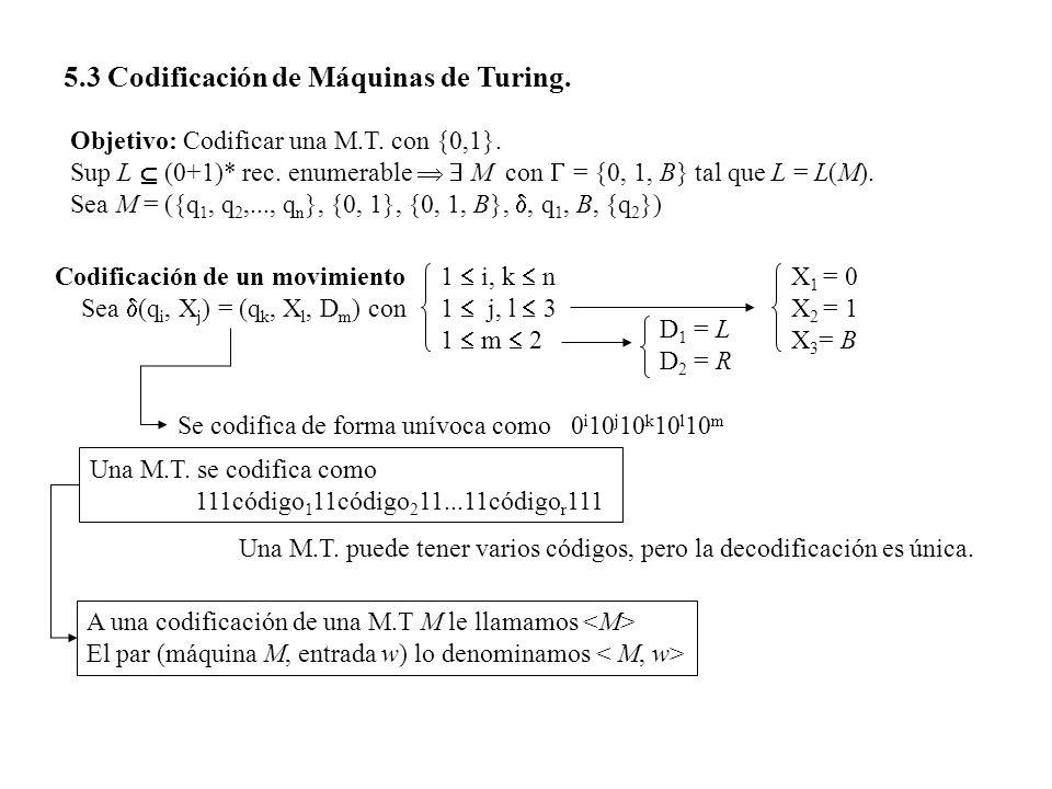 5.3 Codificación de Máquinas de Turing.
