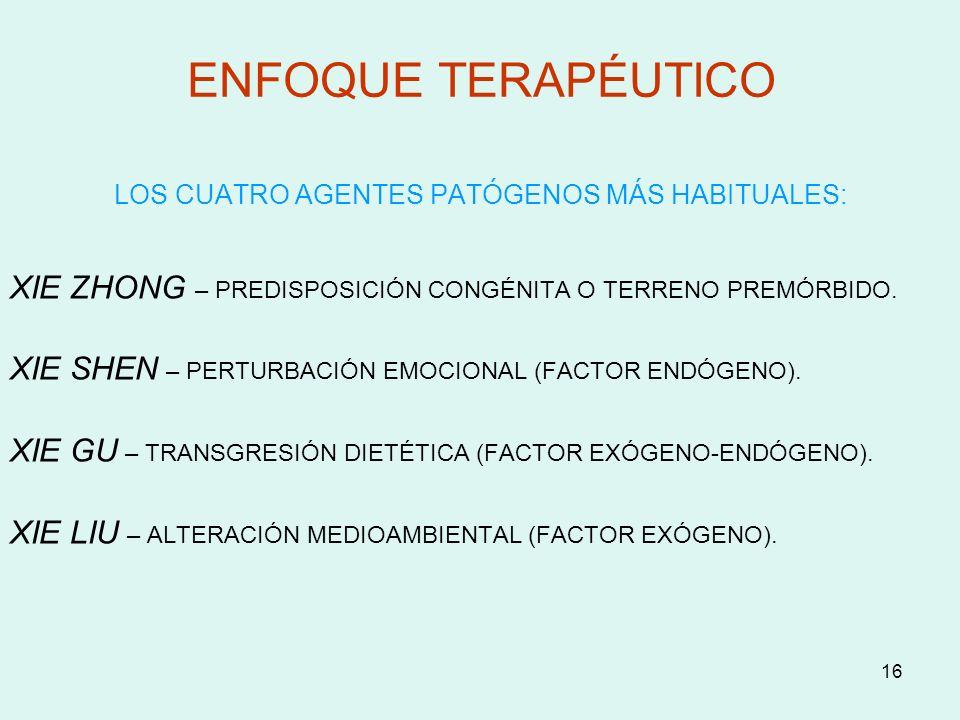 ENFOQUE TERAPÉUTICO LOS CUATRO AGENTES PATÓGENOS MÁS HABITUALES: