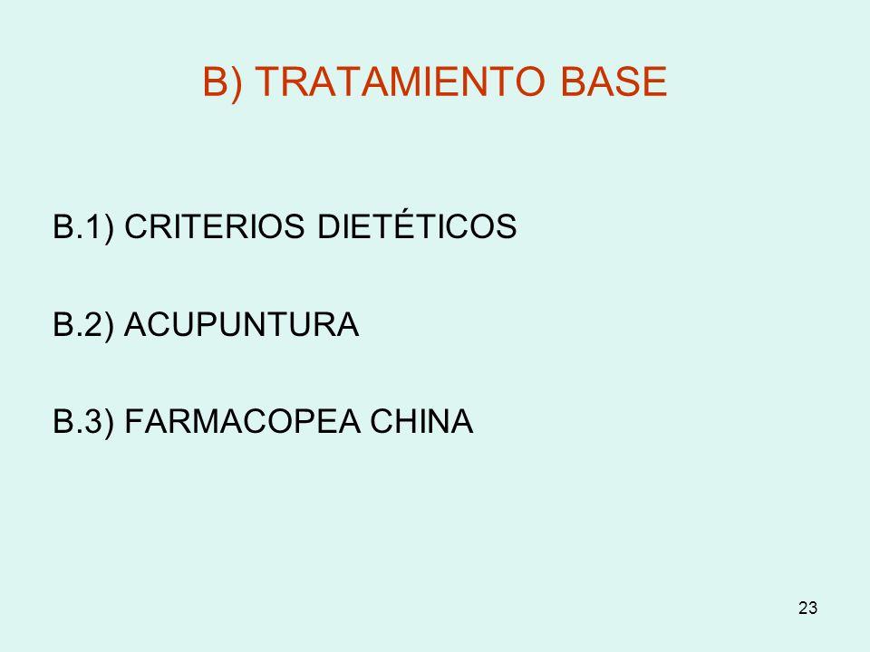 B) TRATAMIENTO BASE B.1) CRITERIOS DIETÉTICOS B.2) ACUPUNTURA