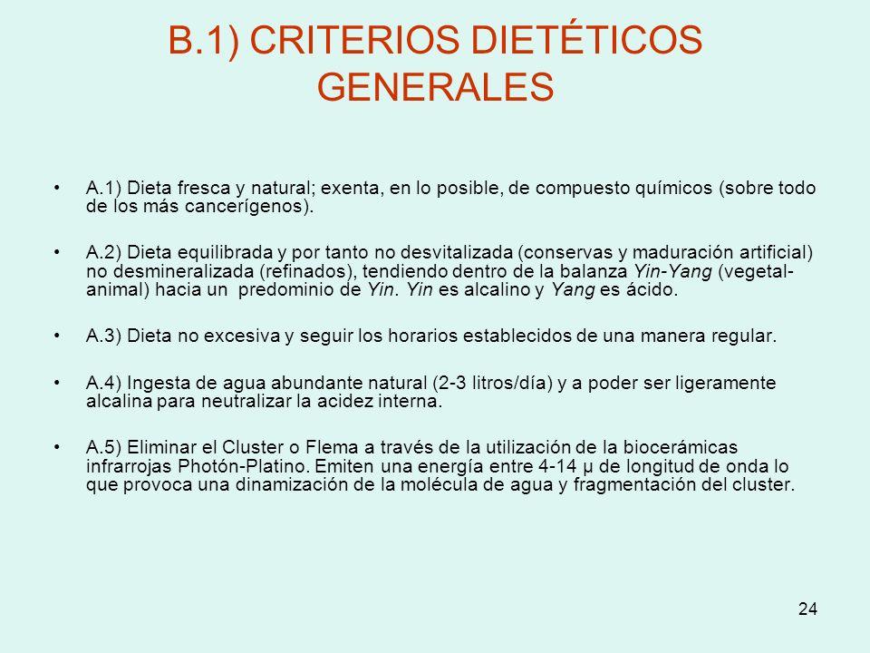 B.1) CRITERIOS DIETÉTICOS GENERALES