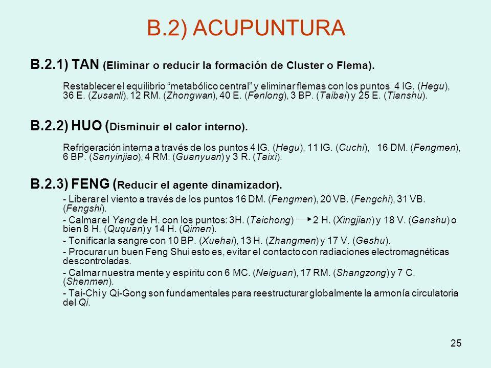 B.2) ACUPUNTURA B.2.1) TAN (Eliminar o reducir la formación de Cluster o Flema).