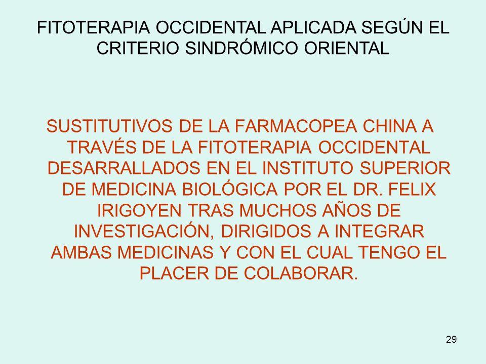 FITOTERAPIA OCCIDENTAL APLICADA SEGÚN EL CRITERIO SINDRÓMICO ORIENTAL